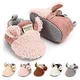 LAFEGEN Infant Baby Boys Girls Slipper Stay On Non Slip Soft Sole Newborn Booties Toddler First Walker Crib House Shoes 0-18 Months, 01 Khaki, Baby Slipper 12-18 Months Toddler