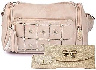 Nevis Women's Casual Pink Dholki Handbag Combo (Pack of 3)