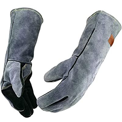 WZQH 16 Inches,932?,Leather Forge Welding Gloves, with Kevlar Stitching Heat/Fire Resistant,Mitts for BBQ,Oven,Grill,Fireplace,Tig,Mig,Baking,Furnace,Stove,Pot Holder,Animal Handling Glove.Black-gray