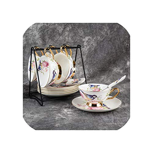 Pastoral Flower Bird Bone China Tea Cup Saucer Spoon Set 200ml British Cafe Porcelain Coffee Cup Advanced Ceramic Teacup,6Cups n Holder