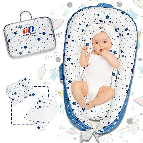 Babynest Babynestchen Tumbona para bebé recién nacido con almohadas y colchonetas - 100% algodón - Wndy's Dream - Nido de abrazos para bebé - Wndy's Dream 95x55cm - Gris oscuro (0-12 meses)