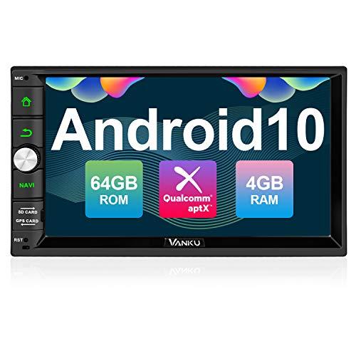 "Vanku - Android 10 Radio 2 DIN (PX5, 4GB + 64GB), Autoradio conQualcomm BT 5.0, GPS, Soporte Control Volante, WiFi, USB, SD, Mirror-Link, 4G, con 7"" Pantalla Táctil"