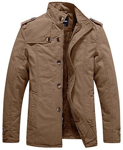 Wantdo Men's Warm Fleece Thicken Jacket Outdoor Coat US Large, Khaki