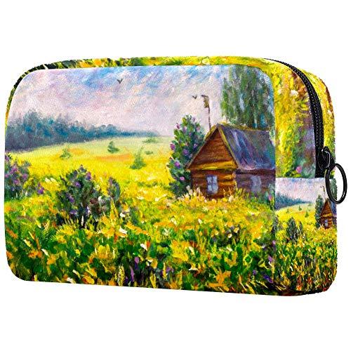 Bolsa de brochas de maquillaje personalizable, portátil, bolsa de aseo para mujer, bolsa de mano, cosméticos, viajes, casa de madera