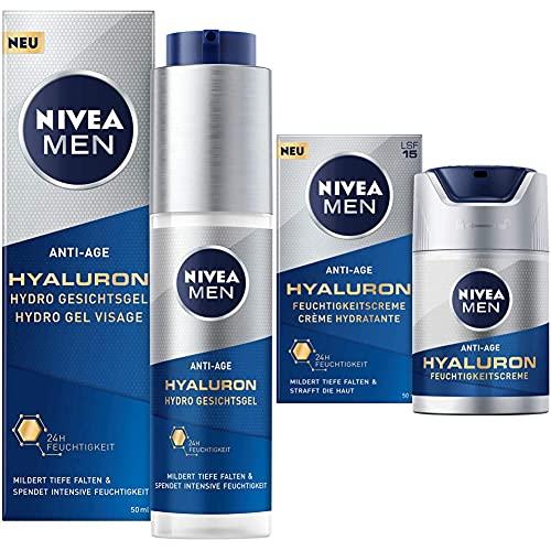 NIVEA MEN Anti-Age Hyaluron Hydro Gesichtsgel (50 ml), Feuchtigkeitsgel mildert selbst tiefe Falten, schnell einziehende Gesichtspflege mit Hyaluron & Anti-Age Hyaluron...