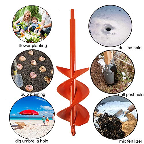 Auger Drill Bit 3x12inch Garden Solid Barrel Dual-Blades Plant Flower Bulb Auger Spiral Hole Drill Rapid Planter Earth Post Umbrella Hole Digger for Most 3/8