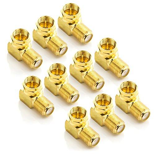 deleyCON Sat-Winkel-Adapter Set 90° Grad für Koaxialkabel F-Winkelstecker Winkeladapter F-Adapter F-Buchse 7mm Sat-Kabel Kupplung Vergoldet - 10 Stück