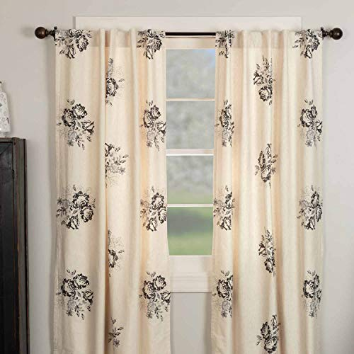 "Lydia Black Floral Panel Curtains, Set of 2, 84"" Long, Vintage Farmhouse Boho Style Flower Print Window Treatments, Cream & Black Drapes"