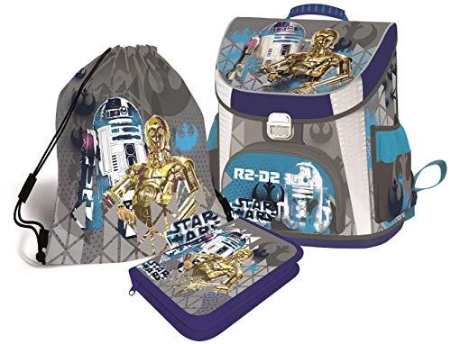 Star Wars Schulranzen Jungen 1 Klasse Tornister Schulrucksack Schultasche Set 4 teilig inkl. Federmäppchen und Sportbeutel und Regenschutz für Grundschule super leicht !