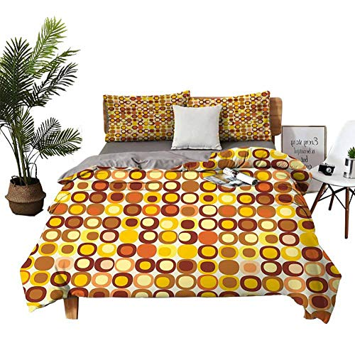 DRAGON VINES Bed Sheets King Mid Century Pocket Full of Sheets Kitsch and Retro Styled Round Edged Square Pattern in Old Earth Tones W79 xL90 Brown Yellow Coral