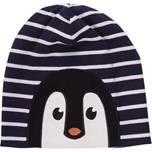 Fred's World by Green Cotton Jungen Penguin Stripe Beanie Mütze, Blau (Navy 019392001), S (Herstellergröße: 68/74)
