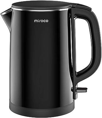 Hervidor eléctrico, Miroco 1.5L de doble pared, 100% acero inoxidable sin BPA, hervidor de té frío con protección contra sobrecalentamiento, inalámbrico con apagado automático