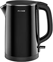 Electric Kettle, Miroco 1.5L Double Wall 100% Stainless Steel BPA-Free Cool Touch Tea Kettle with Overheating Protection, ...