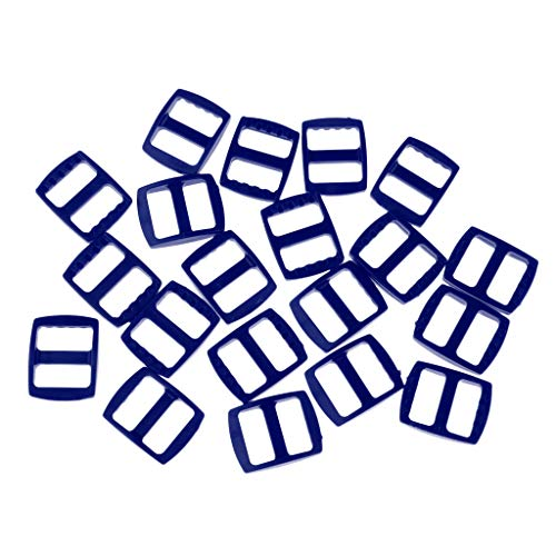 Baoblaze 20pcs Boucles de Sangle Réglage en Plastique Attache Sac à Dos Tri Glide - Bleu, 23x20MM