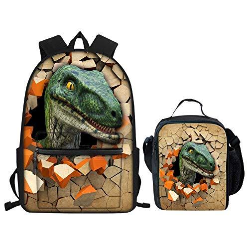 Mochila para niños con Bolsa de Almuerzo con Estampado de Dinosaurio para la Escuela Elemental, Mochilas de Libros, Adolescentes, Impermeables