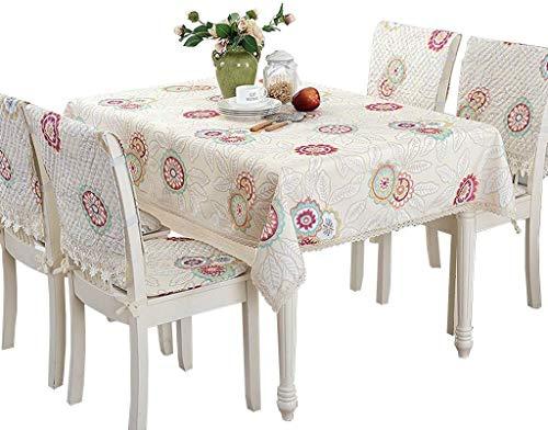 ZXL bedrukt tafelkleed, eettafel, bloemen, restaurant, plant, creatief design, afwasbaar, lengte 90-220 cm (kleur: blauw, maat: 140 x 220 cm)