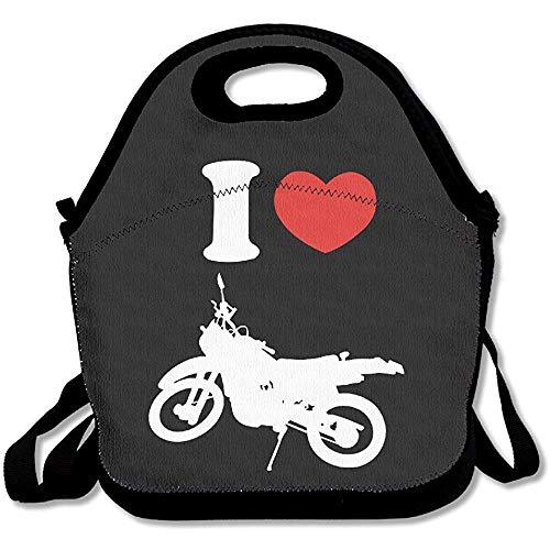 Gourmet tas I hart liefde Dirt Bike Logo Lunch Box Bag voor kinderen en volwassenen, lunch Tote Lunch Houder Met verstelbare riem voor mannen vrouwen jongens meisjes, dit ontwerp voor draagbaar, Oblique Cross, dubbele schouder door Duang