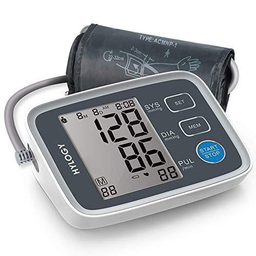 Oberarm Blutdruckmessgerät, HYLOGY Blutdruckmessgerät Großes LCD-Display, Vollautomatisch Professionelle Blutdruckmessgerät und Pulsmessung,2 x 90 Dual-User-Modi mit großer Manschette (Mehrweg)