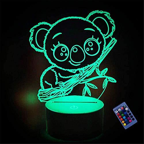 Lámpara de noche 3D Koala regalos, con 16 cambios de color y control remoto, regalos para niños a partir de 3 4 5 6 años