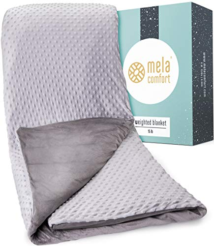 Multi-Relief Weighted Blanket - 100 Night Risk-Free Trial - Supports Healthy Sleep & Can Help Reduce Stress - Includes Premium Super Soft & Washable Cover - 15LBs - Adult Queen Size - Heavy Blanket