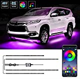 Exterior Car Underglow LED Strip Lights, 16 Million Colors Neon Accent Lights Kit, Multicolor RGB Sound Actived Underbody System Lights - Wireless Bluetooth APP Control, DC 12-24V(2×47inch+2×35inch)