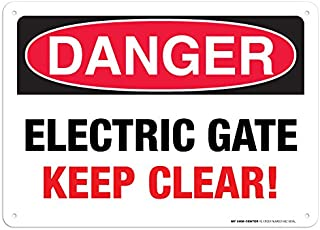 Danger Electric Gate Keep Clear Rectangular Sign by My Sign Center - Rust Free UV Coated and Weatherproof .040 Aluminum - Rounded Corners and Pre-Drilled Holes, 10