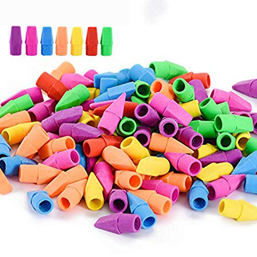 120 Pack Pencil Erasers, Sooez Pencil Top Erasers Cap Erasers Eraser Tops Pencil Eraser Toppers School Erasers for Kids School Supplies for Teachers Eraser Pencil Erasers, 7 Colors