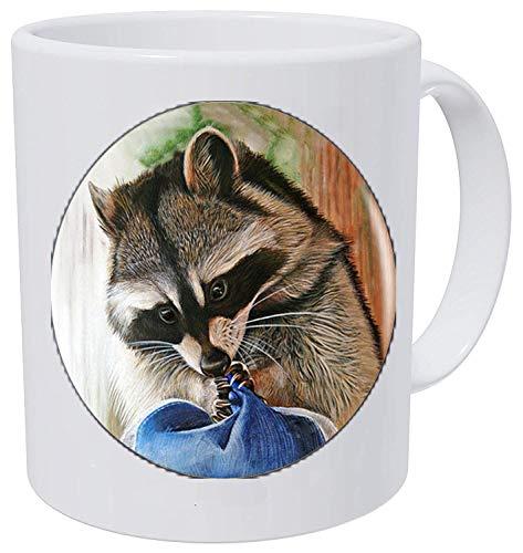 bab Collar con colgante con logotipo de mapache de dibujos animados Animal Raccon Jewelry 7 Taza de café