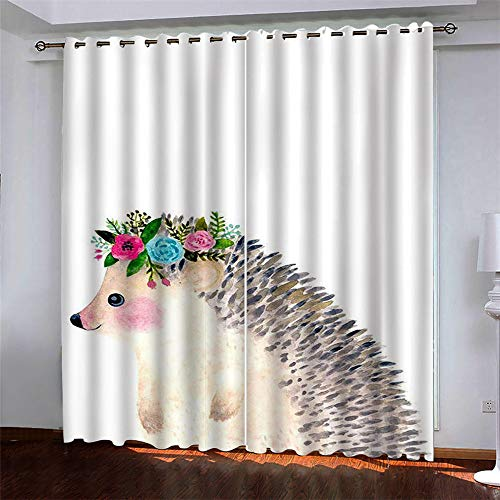 YUNSW Small Animals 3D Digital Printing Polyester Fiber Curtains, Garden Living Room Kitchen Bedroom Blackout Curtains, Perforated Curtains 2 Piece Set