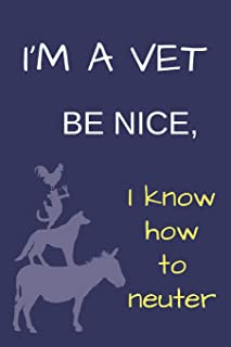 I'M A VET BE NICE BLANK LINED NOTEBOOK JOURNAL: A daily diary, composition or log book, funny gag gift idea for your veterinarian or someone who wants to be!!