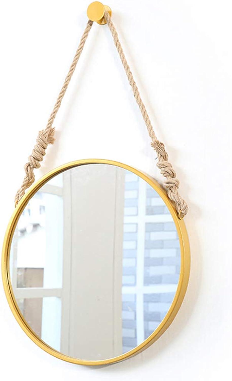 Modern Round Vanity Mirrors golden Wall Hanging Makeup Mirror with Metal Frame Circle Large Shaving Mirror HD Plane Mirror with Hemp Rope