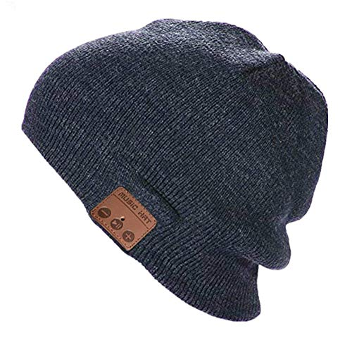 Sombrero Bluetooth gorro de punto inalámbrico gorra de invierno de música unisex cálido auricular con altavoz estéreo Auriculares y micrófono para deportes al aire libre (Gris oscuro)