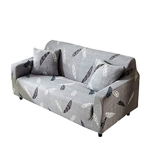 Funda para sofá con diseño moderno de 1/2/3/4 plazas, antideslizante, funda elástica para sofá y protector para mascotas, lona, pluma, 2-Seater Sofa Length 55-67In + 1pcs Free Pillowcas