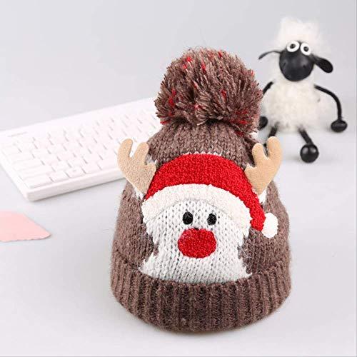 ZAAQ Herbst und Winter Kinder warme Wollmütze Weihnachtsmütze Cartoon Elch Hut Kinder geeignet für 1-3 Jahre alt