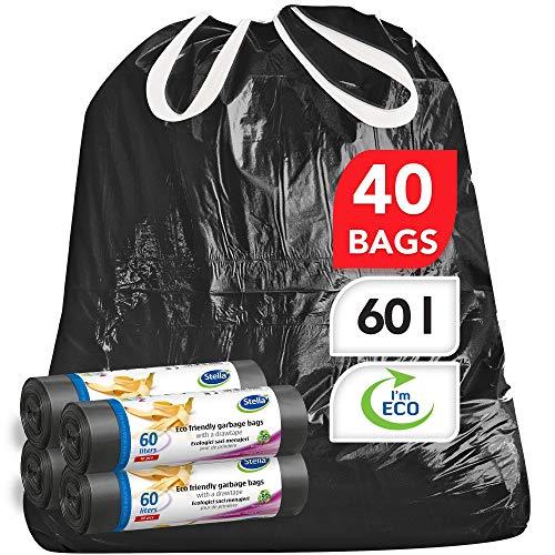 Stella pack bolsas de basura ultrarresistentes y flexibles [60 unidades] Ecológicas y Reciclables - Hechas de plástico de desecho [Negro - Tipo de cordón - 60 Litros]