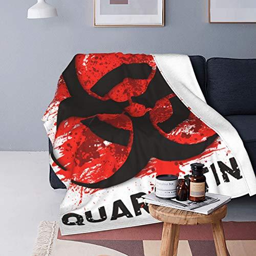 Quarantine Sign Biohazard Danger Virus Warning Fleece Throw Blanket | Super Soft, Microfiber Fleece Blanket Throw | Luxurious Tv Blanket for Couch Sofa 60X50 Inch