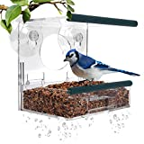 MrCrafts Window-Bird-Feeder, Bird-House for Outside, Strong-Suction-Cups and Removable-Seed-Tray with Drain-Holes, Best for Wild-Birds, Unique-Gift