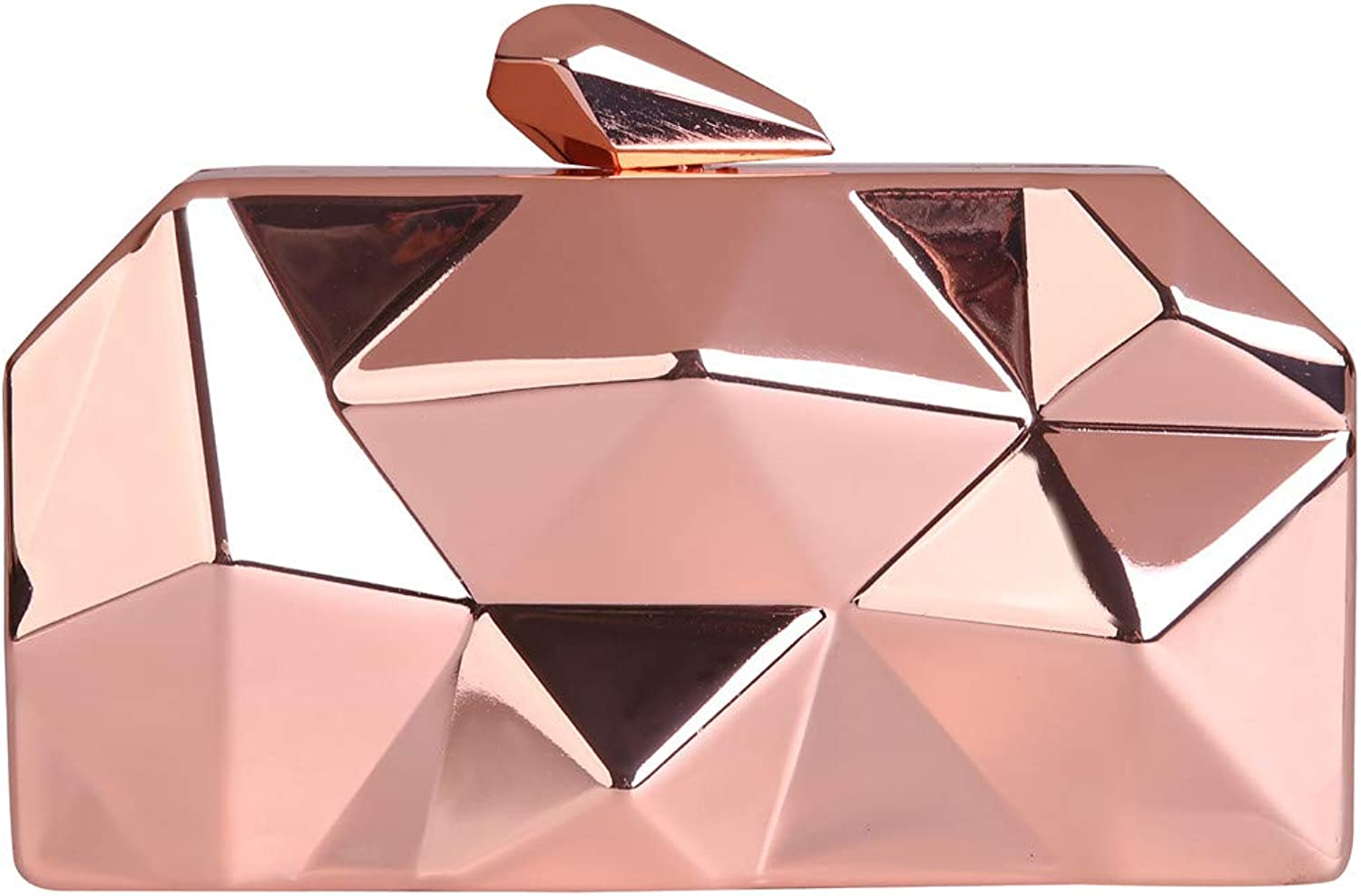 3D Metallic Evening Clutch For Party (champangne)