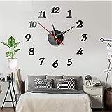 Huai1988 Reloj de pared, adhesivo de pared moderno 3D, acrílico, espejo de metal, sin marco, grande, para casa, cocina, salón, oficina, decoración de pared, color negro