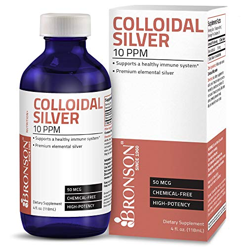 Bronson Colloidal Silver 10 PPM 50 MCG High Potency Superior Elemental Silver Liquid Immune Support Supplement, 4 fl. oz