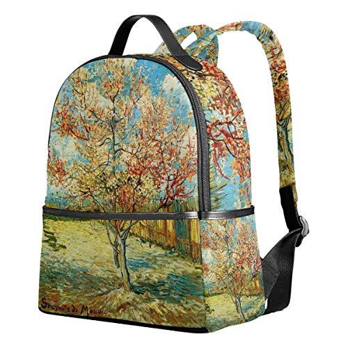 Zaino Canvas School Satchel Casual Zaino Daypack Van Gogh Pink Peach