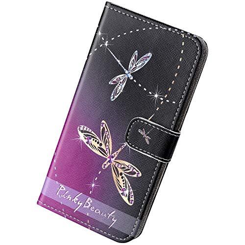 Herbests Kompatibel mit Samsung Galaxy A70 Handyhülle Brieftasche Hülle Bunt Motiv Muster Leder Schutzhülle Flip Case Handytasche Lederhülle Klapphülle Magnetisch Kartenfach,Libelle