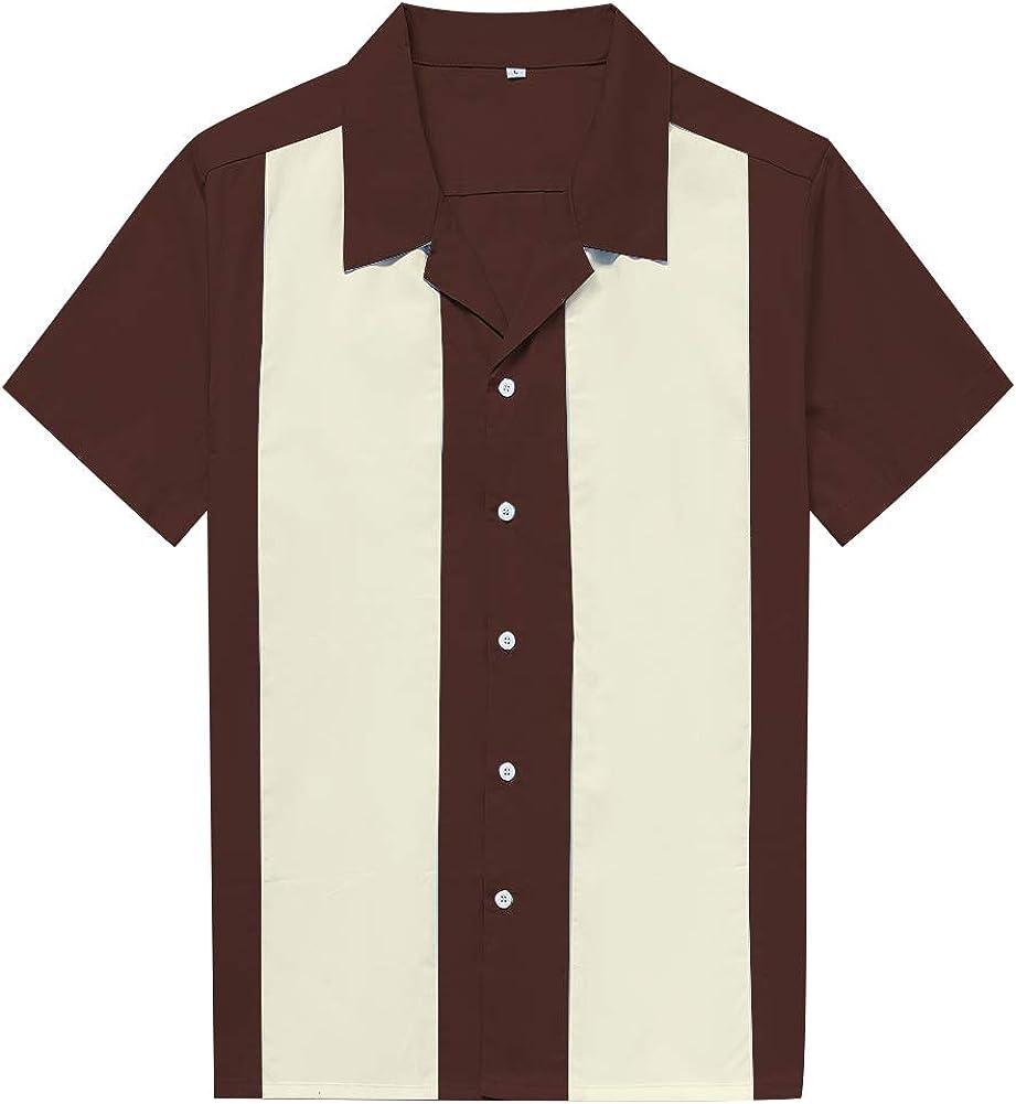 Amashz Men Shirts Retro Hip hop Casual Rockabilly Bowling Shirt Casual Button-Down Shirts