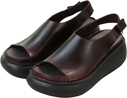 MAKAFJ Les Les dames Sandales compensées été Talon Plat Plat Peep Toe en Cuir véritable Slingback Plateforme Chunky Mode Sandales Occasionnelles Chaussures Femmes,marron-39  moins cher