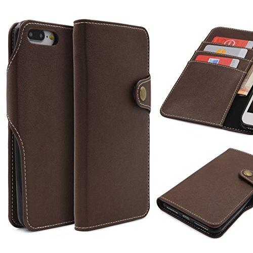 Urcover iPhone 7 Funda Libro, Carcasa con Tapa Cierre magnético, Billetera para Tarjetas Wallet Case Eco Cuero Flip Cover Apple iPhone 7 – Café