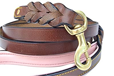 Soft Touch Collars Heavy Duty Leather Braided Dog Leash, Brown with Pink Padded Handle, 6ft