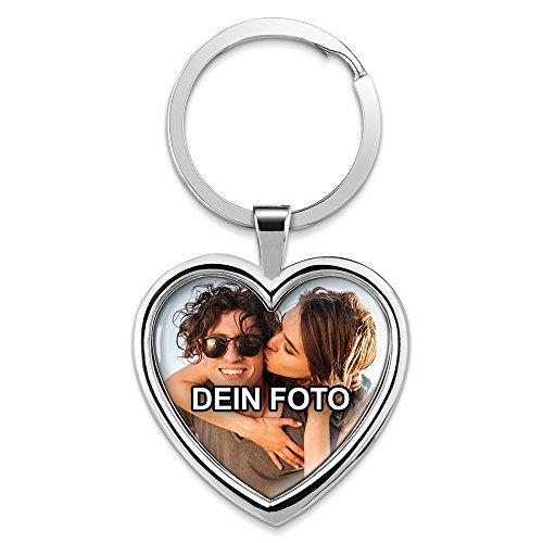 PhotoFancy® - Schlüsselanhänger mit Foto Bedrucken Lassen - Chrom-Anhänger mit eigenem Bild Personalisieren (Schlüsselanhänger Herz)