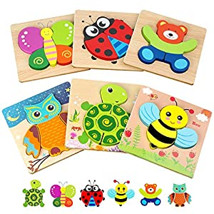 Toddler Puzzles, Wooden Jigsaw Animals Puzzles for 1 2 3 Year Old Girls Boys Toddlers, Educational Preschool Toys Gifts for Colors & Shapes Cognition Skill Learning from Shang Gao Xian Fang Bei Gong Yi Pin You Xian Gong Si