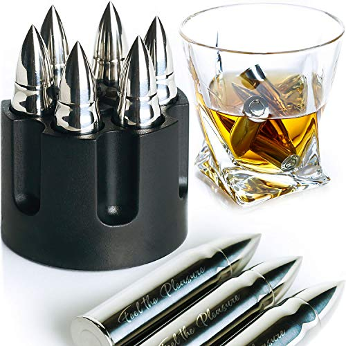 WHISKEY STONES EXTRA LARGE 6 PCS STAINLESS STEEL SILVER BULLETS with Revolver Barrel Base Laser Engraved Ice Cubes Chillers Reusable Chilling Rocks Stone Gift Set for Men Fathers Day Military Man