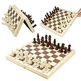 Viperz Schachspiel aus echtem Holz, Tragbares Magnetisches Schachbrett Faltbares Klassisches Originales Schachset Holz
